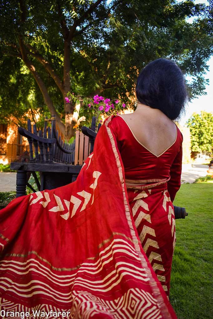Styling a red Bapta silk Saree: saree Blog