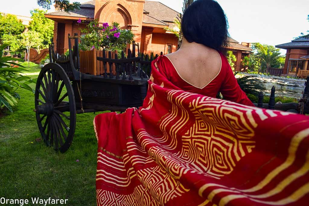 Styling a red Bapta silk Saree